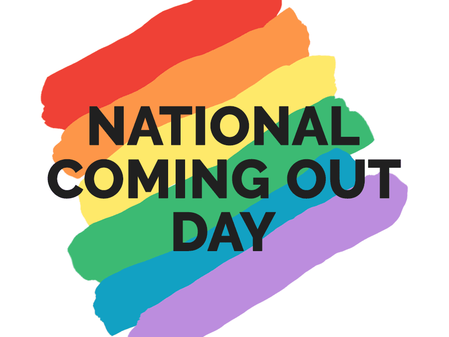 National Coming Out Day (Text with painted diagonal rainbow stripes).