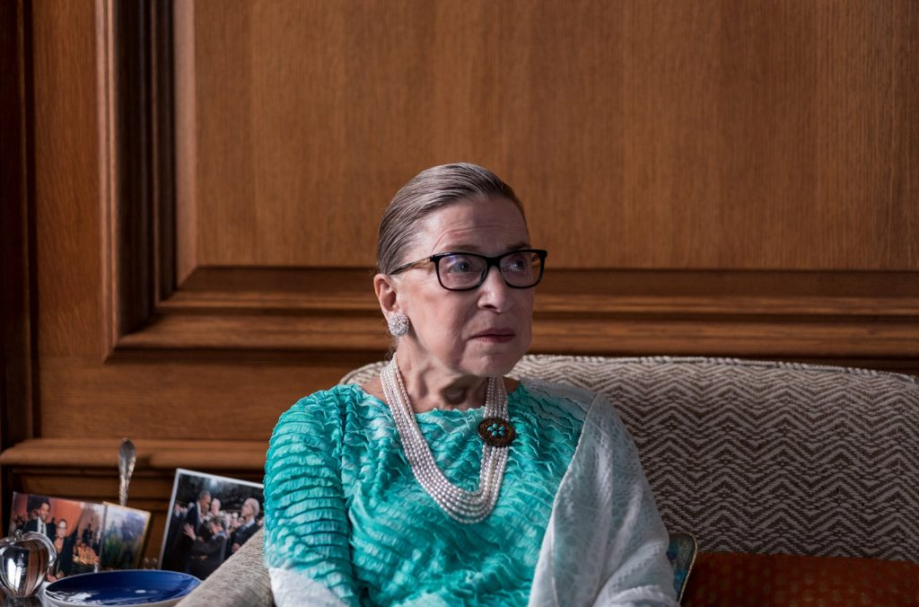 Supreme Court Justice Ruth Bader Ginsburg is pictured in the justice's chambers in Washington, D.C., during an interview with NPR's Nina Totenberg in September 2016. Ariel Zambelich/NPR.