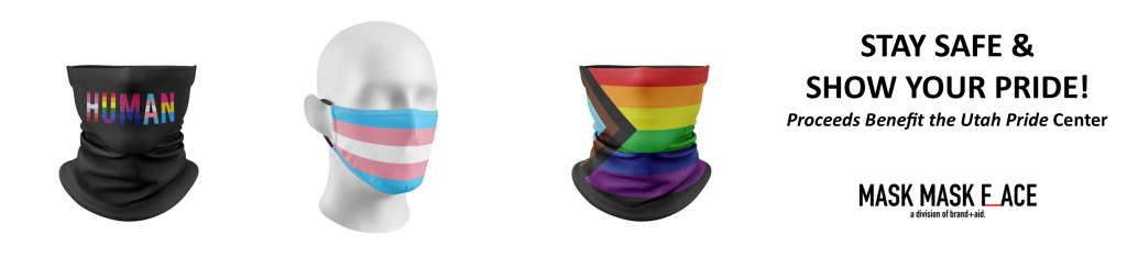 Image with link to Pride-themed masks by Mask Mask Face. Proceeds benefit the Utah Pride Center.