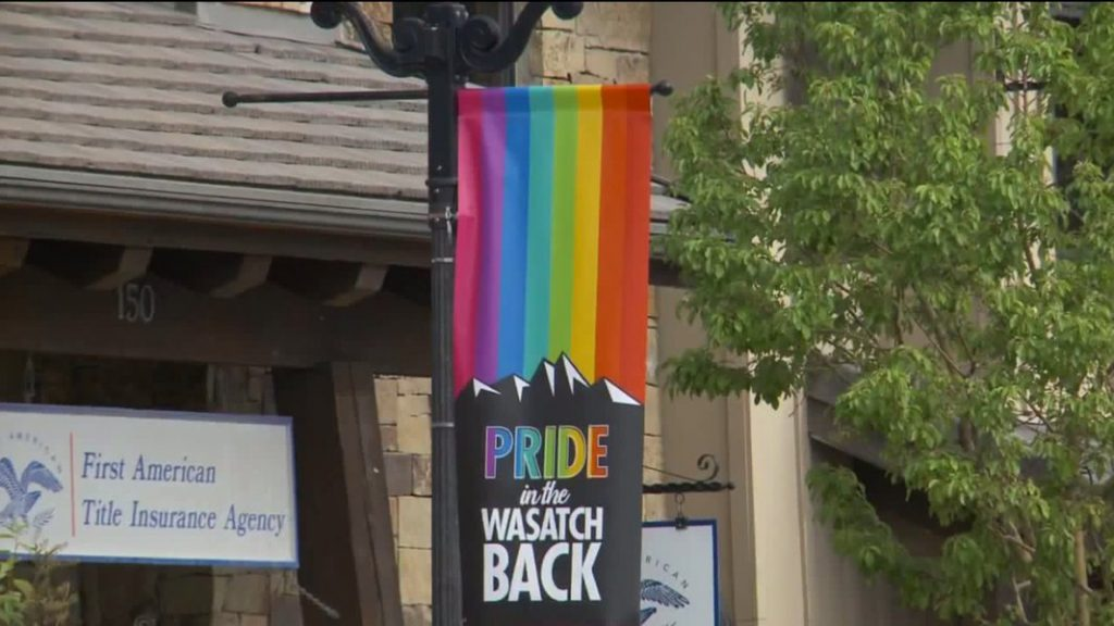 (Courtesy of FOX 13) Heber City has had an ongoing debate over Pride flags flown from street lights along Main Street. These are from the summer of 2019.