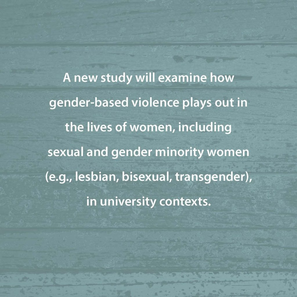A new study will examine how gender-based violence plays out in the lives of women, including sexual and gender minority women (e.g., lesbian, bisexual, transgender) in university contexts.