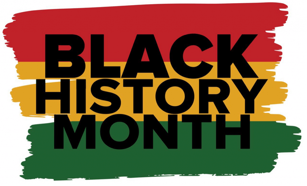Words Black History Month with Horizontal paint-brush-like color bands of red, orange, and dark green.
