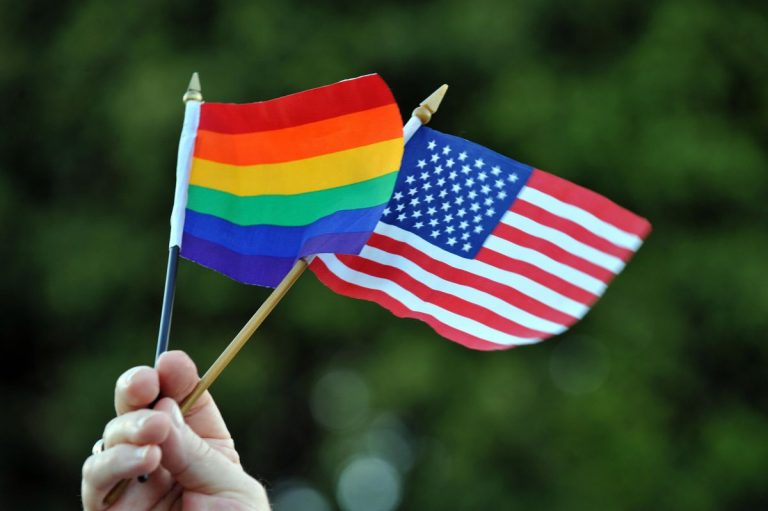 2 flags being held high by someone (all we can see is their hand). The Pride Flag and the U.S. Flag.