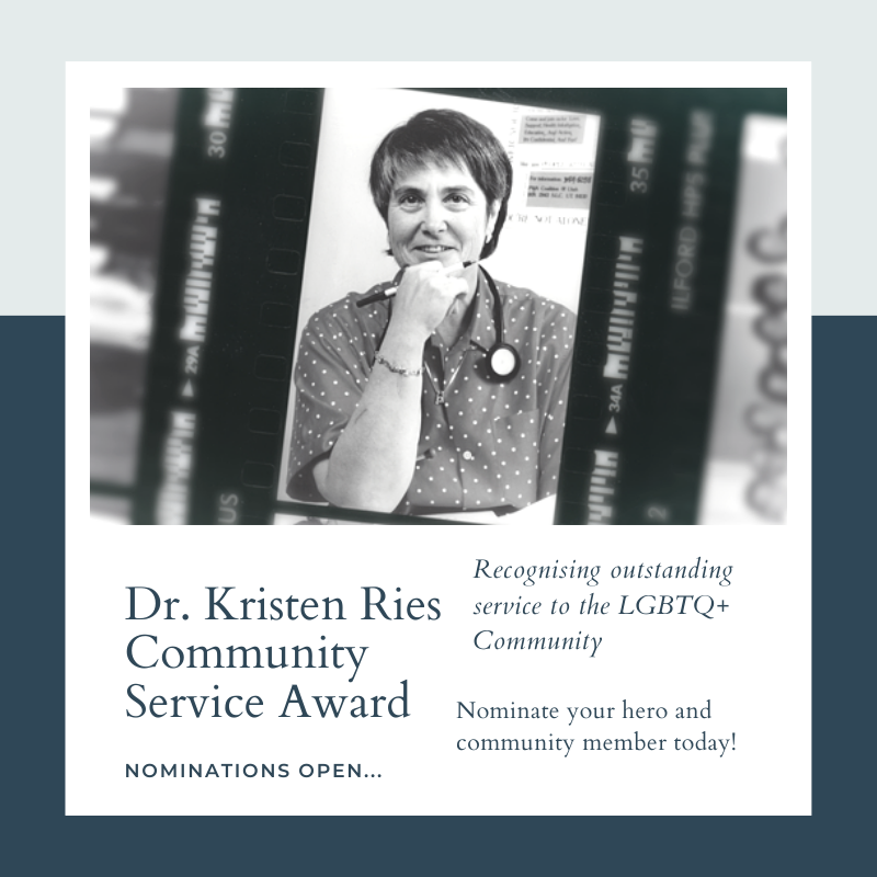 """Nominations due by Sunday, May 16 2021 (feel free to lengthen or shorten the nomination window) Established in 1987 this award was first presented to Dr. Kristen Ries for her humanitarian efforts in dealing with the AIDS crisis, and forever named in her honor. This award recognizes outstanding service to the greater lesbian, gay, bisexual, and transgender community in Utah, and is given to individual(s) who are dedicated to continuing that legacy of service. Those who receive this award are role models for Utah's LGBTQ+ community, and like Dr. Kristen Ries, """"exemplify everything that the award has stood for: compassion, leadership and courage."""""""